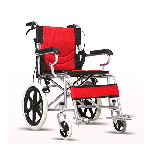 WANGXN Fahrend Rollstuhl Faltbare Carbon Steel Rollstuhl leichte, tragbare Transit Travel Chair,Rot