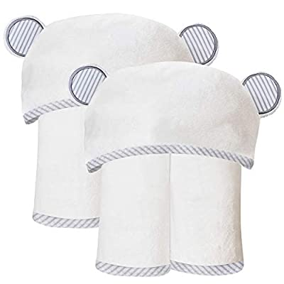 2 Pack Durable Large Bamboo Baby Bath Towel - Ultra Absorbent - Ultra Soft Organic Hypoallergenic Hooded Towels for Toddler,Infant - Newborn Essential - Baby Registry Gifts for Boy Girl - 35 x 35 inch