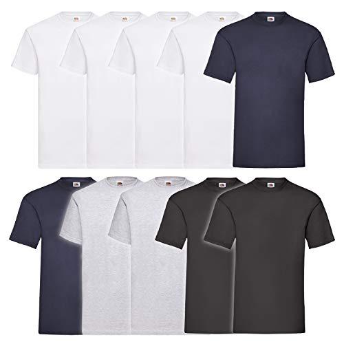 Fruit of the Loom 10 T Shirts Valueweight T Rundhals S M L XL XXL 3XL 4XL 5XL Übergröße Diverse Farbsets Auswählbar (5XL, 4 Weiß/2 Navy/2 Grau/2 Schwarz)