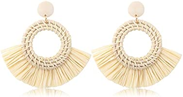 FUNRUN JEWELRY Rattan Tassel Earring for Women Straw Wicker Drop Dangle Raffia Earring Geometric Handmade Statement Hoop...