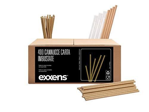 400 pz Cannucce Carta, imbustate singolarmente per asporto, biodegradabili, per bicchiere cocktail, cioccolato, bevande calde e fredde