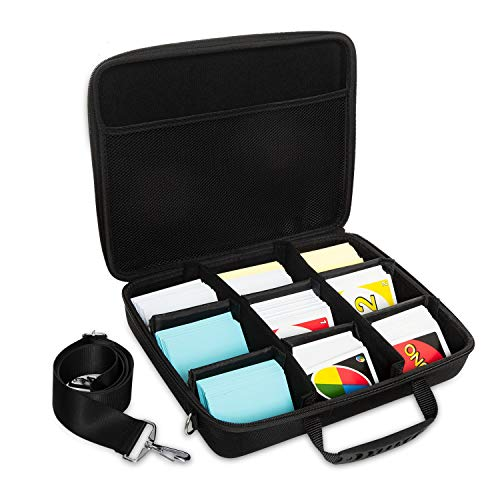 Gonioa - Funda rígida para tarjetas de juego de 2200 a 2500, soporte para juegos de cartas y organizador con correa para el hombro, caja de almacenamiento para juego principal y todas las expansiones