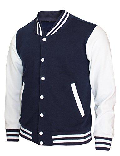 BCPOLO Baseball Jacket Varsity Baseball Cotton Jacket Letterman Jacket 8 Colors-Navy L