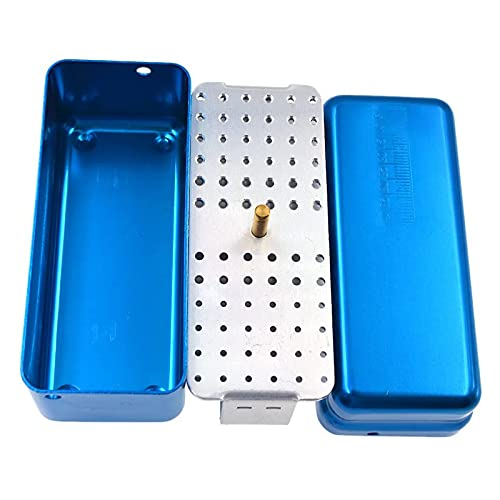 ANYURAN Surgical Sterilization Instruments Medical Instruments Sterilization Basket Tray, Rectangular 72 Hole Case Disinfection Box Aluminum Alloy Double Layer Surgical Sterilization Box,Blue