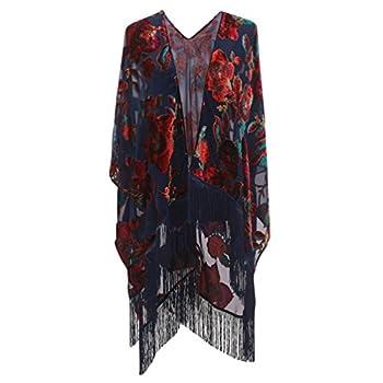 Genovega Floral Burnout Velvet Dress Kimono Cardigan Poncho With Fringe Velvet Shawls Wraps One Size 27