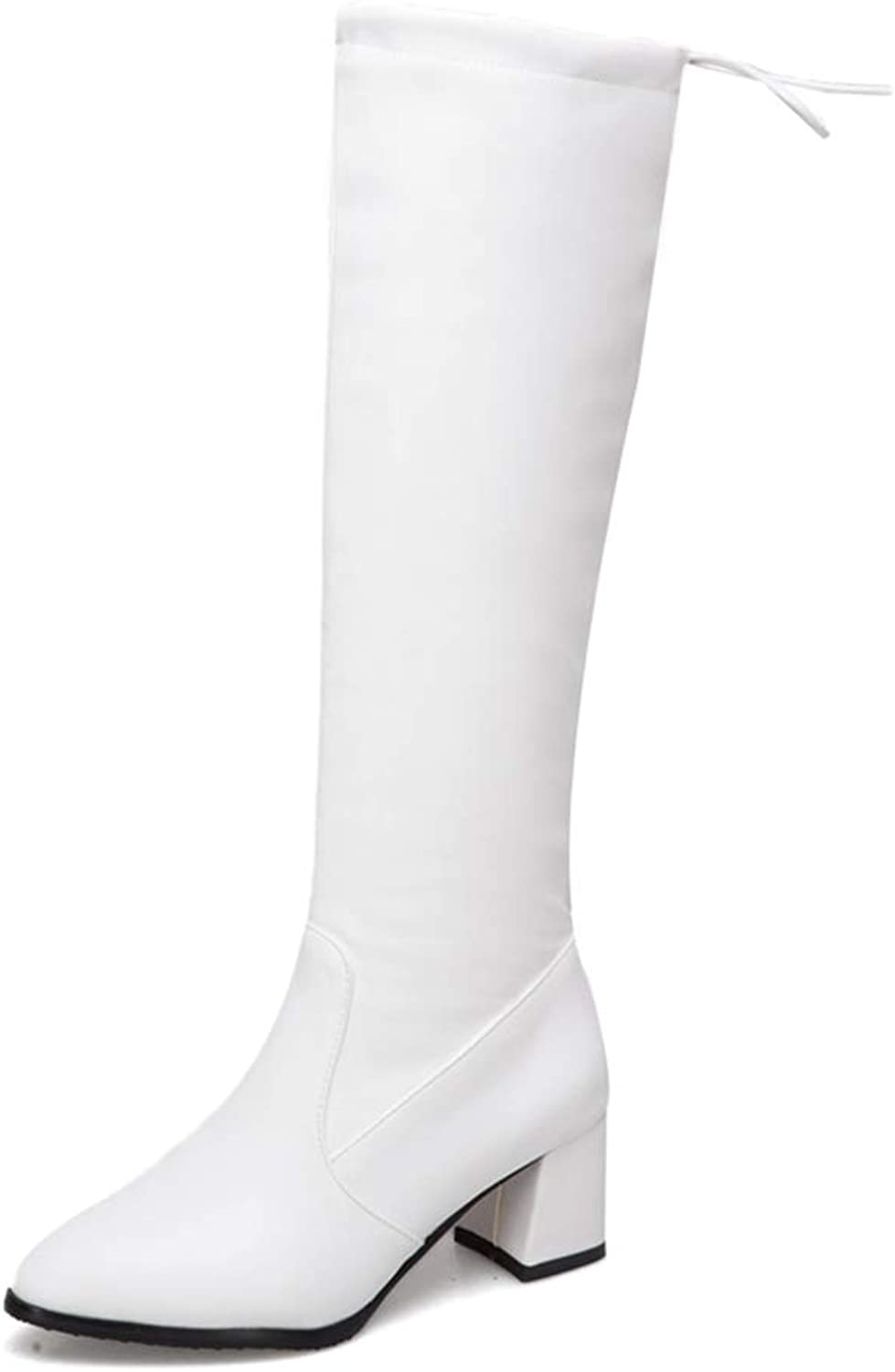 Hoxekle Women Knee High Boots Slip On Mid Chunky Heel Pointed Toe Winter Warm Ladies Long Boots