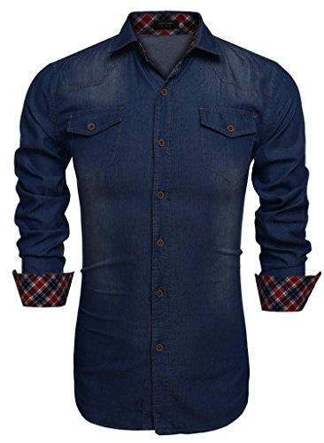 Coofandy Camisa Vaquera Azul Oscuro de Hombre con Bolsillos de Estilo Demin XXL