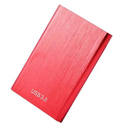 Disco duro externo de 1 TB 2TB, portátil Hard Drive USB 3.0, compatible con PC, Laptop y Mac (2TB-B Red)