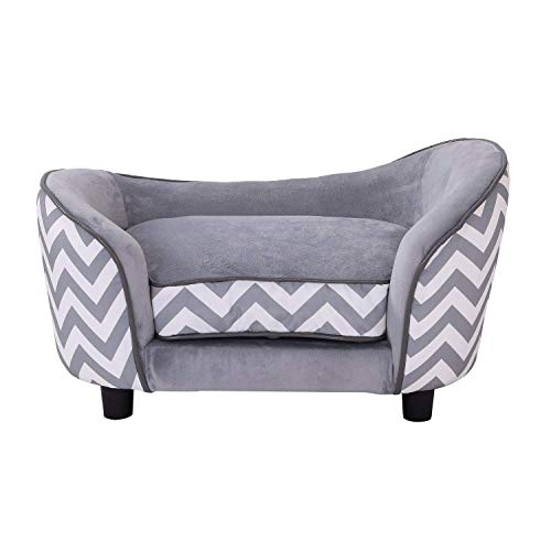 Pawhut Plush Fur Dog Sofa Couch Wooden Frame Deluxe Pet Sofa Lounger Cat Bed w/Cushions (Grey)