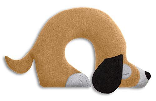 Leschi REISEKISSEN für erholsamen Schlaf in Auto, Flugzeug und Camping-Bett/Reisegeschenk für Kinder und Erwachsene/waschbares Nackenkissen/Hund Charlie, beige grau schwarz