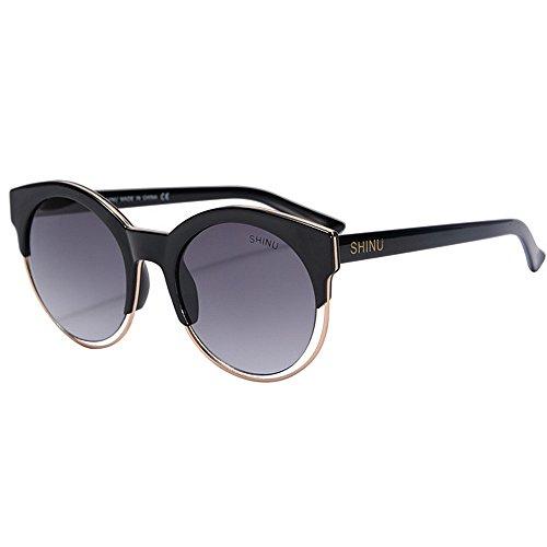 Antiscivolo Portatile Occhiali da sole per uomo Semi-Rimless Cat Eyes PC Occhiali da sole colorati con protezione UV Occhiali da sole per la guida Baseball Ciclismo Pesca Golf ( Color : Black )