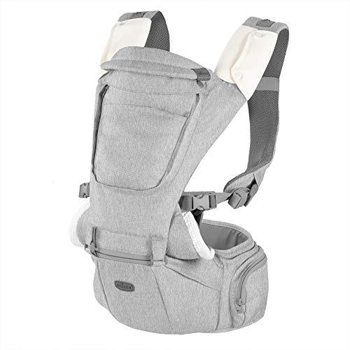 Chicco Hip Seat Mochila Portabebés desde 0 Meses hasta 15 kg – Mochila para Bebé Multifunción 3 en 1 con Base Rígida, Hombreras Acolchadas y Capucha Protectora, 8 Posiciones, Gris (Titanium)