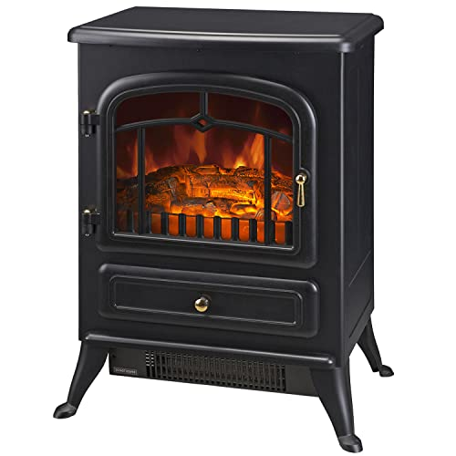 HOMCOM Electric Fireplace Heater, Freestanding Fireplace Stove with Realistic LED Log Flames and Automatic Timer, 750/1500W, Black