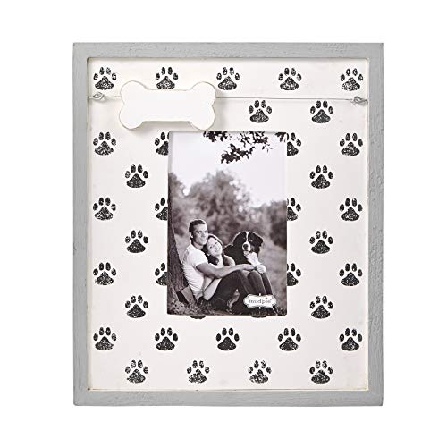 """Mud Pie Pet Lover Paw Print 4"""" x 6"""" Picture Frame, White, Black"""