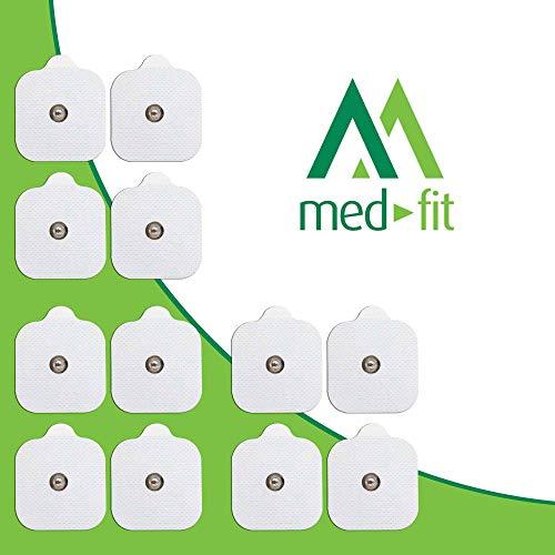 MED-FIT 5x5cm Flexi iSTIM 12 x 3.5mm Stud (tipo snap/boton) TENS Almohadillas autoadhesivas encajan con BEURER, SANITAS y VIRTUALMENTE todas las Maquinas de masaje TENS en Amazon.