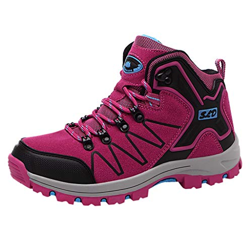 FRENDLY Women's Outdoor Hiking Shoes Non-Slip Sports Shoes Couple Fashion Sneakers Lightweight Athletic Trekking Boots Hot Pink