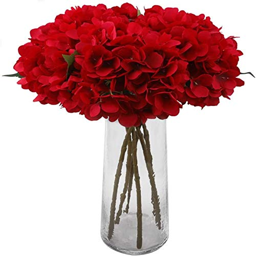 YYHMKB 6Pcs Artificial Hydrangeas, 6.6'' Single Stem Hydrangea Silk Flowers For Bridal Wedding Bouquets, Home, Hotel, Party Decoration, Red