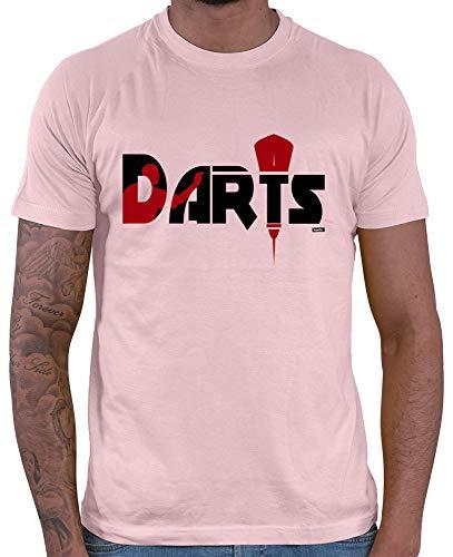 HARIZ Herren T-Shirt Darts Darter Silhouette Dart Sprüche Dartpfeile WM Plus Geschenkkarten Rosa S