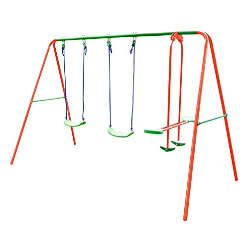 DRM Outdoor Double Swing Set Garden Swing Slider Set with 2 Swing & Seesaw...
