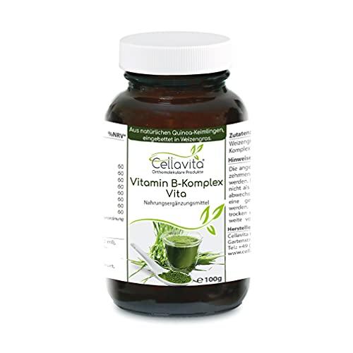 CELLAVITA Vitamin B-Komplex Vita | natürliche Quinoa-Keimlinge, eingebettet in Weizengras | Lückenloser Komplex aller B-Vitamine (100g)