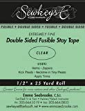 Clear - 1/2' Double Sided Fusible Stay Tape - 0.5' X 25 Yards SewkeysE Extremely Fine Sold by The 25 Yard Roll (DSFST.5) M494.21