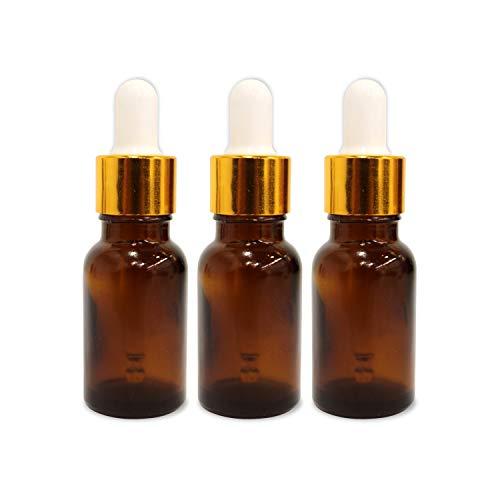 Shoprythm (3 Pack) 0.33 Oz Glass Amber Bottle with Golden Dropper & Funnel