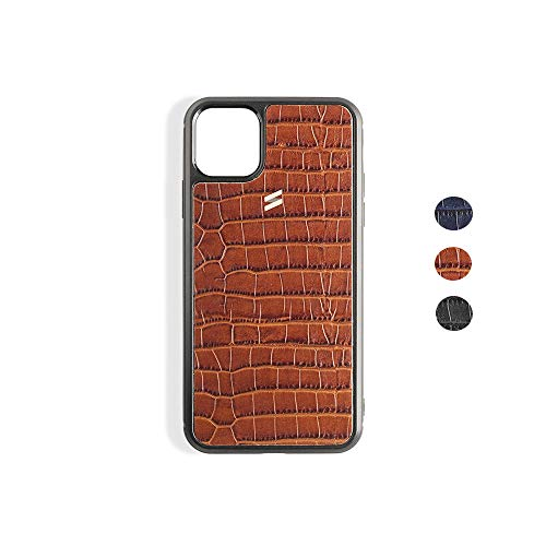 Suritt ® Funda para iPhone de Piel con Grabado Cocodrilo Sidney (3 Colores Disponibles). (iPhone 11, Brown)