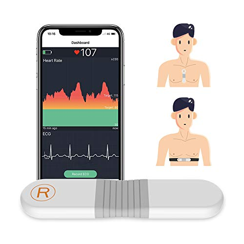 Wellue Heart Rate Monitor Chest Strap Pads, HRM w/HR Alarm, ANT + Bluetooth Heart Monitor w/APP, 30 mins Waveform Recording, 24h Heart Rate Tracing, Wearable Fitness Tracker w/Memory for Sports