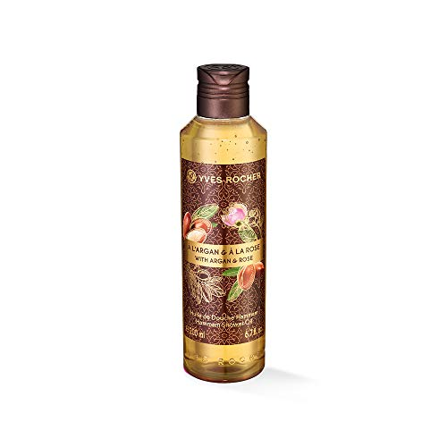 Yves Rocher LES PLAISIRS NATURE Duschöl Hammam Arganöl-Rosenwasser, pflegendes Öl-Duschgel, mit zartem Schaum, 1 x Flacon 200 ml