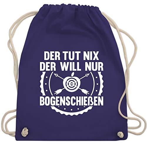 Shirtracer Sprüche - Der tut nix der will nur Bogenschießen - Unisize - Lila - WM110_Stoffbeutel - WM110 - Turnbeutel und Stoffbeutel aus Baumwolle