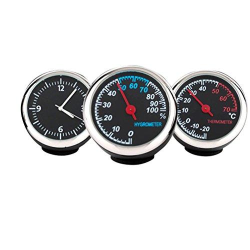 LIOOBO Automobile elektronische Uhr leuchtende mechanische Uhr Thermometer Hygrometer Stahlkern Zeiger für Auto (Uhr und Hygrometer und Thermometer)