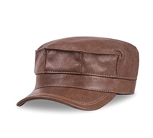 RZX Leren Heren Baseball Cap Muts Merk Heren Echt leer Volwassenen vaste verstelbare Army Hats Caps