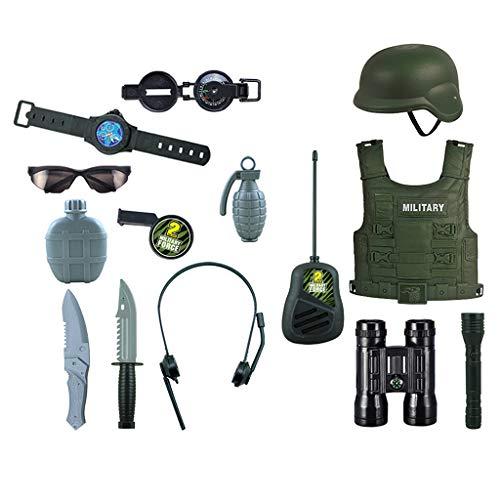 Milageto 14 Piezas Niños Juegos de Herramientas de Juguete Ejército Héroe Explorar Disfraces Juego de Roles