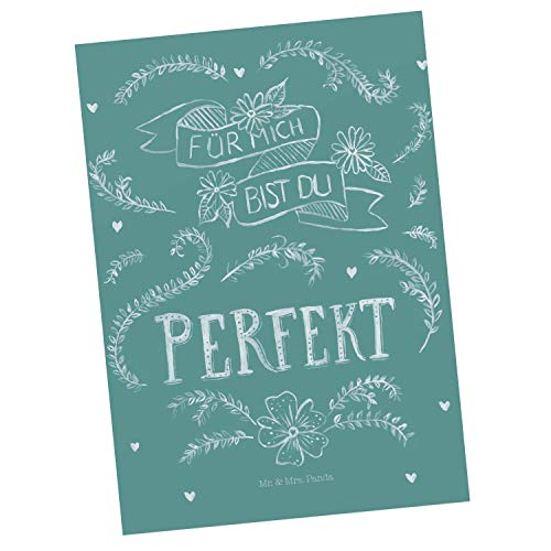 Mr. & Mrs. Panda Geschenkkarte, Ansichtskarte, Postkarte Du bist perfekt mit Spruch - Farbe