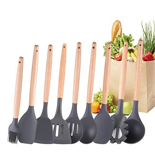 silicona Utensilios cocina Juego de utensilios de cocina de 9 piezas con mango de madera maciza,juego de espátula de silicona resistente al calor,utensilios de cocina antiadherentes