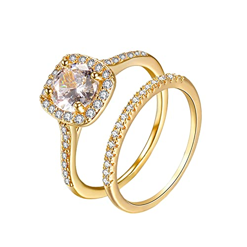 Younoo1 - 2 anillos de compromiso, anillos de circonio cúbico apilables para mujer, anillos de aniversario, boda prometidos, alianzas para parejas, hombre y mujer
