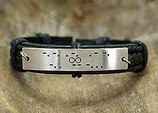 Infinity Morse Code Bracelet Men, Hidden Secret Message, Stainless Steel Leather Cuff, Friendship Gift