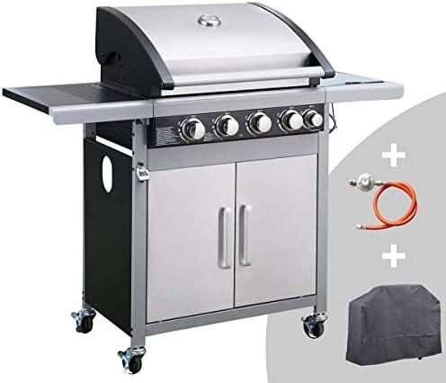 BRAST Barbecue gaz 4+1 brûleurs 14,5kW certifié INOX antirouille Double paroi répartition Uniforme de la Chaleur allumage Piézo et thermomètre intégrée Une Housse + détendeur + Tuyau de gaz Inclus