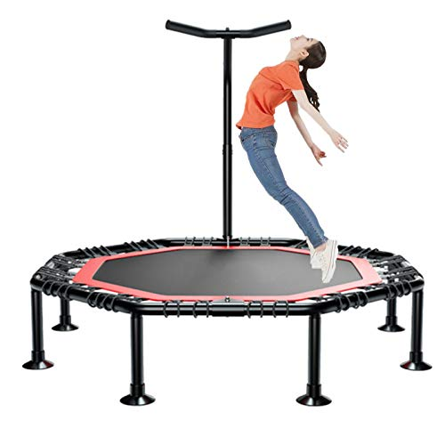 GHH Trampoline-Indoor Fitness Trampoline Folding Adults Silent Exercise Trampoline with Handle 127 cm in diameter Max Limit 300kg Best Aerobic Exercise Fitness Equipment,50 inches