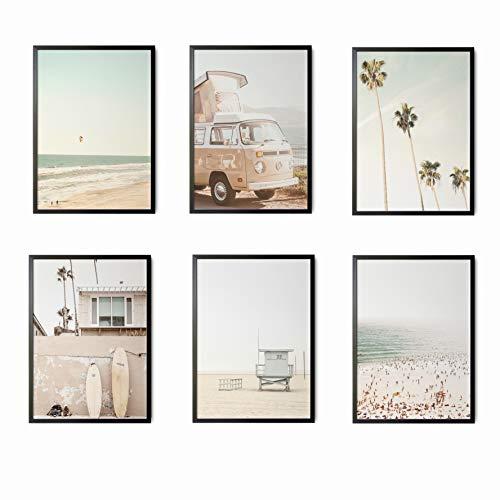 Mapa Mundi Láminas Decorativas para salón, Comedor, habitación, Dormitorio, Pasillo. Set de 6 Posters Modernos DIN A4. Sin Marco. (Surf 3)
