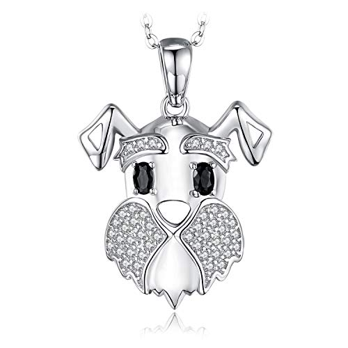 JewelryPalace Colgante Schnauzer Terrier Perro Perrito Mascota Amante Genuino Negro Espinela Collar Plata de ley 925 cadena de caja 45cm