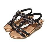 RHH Shop Sandalias bohemias para mujer con tacón de cuña y diamantes de imitación con punta redonda, sandalias de flores para mujer (color: negro, tamaño: 2.5)