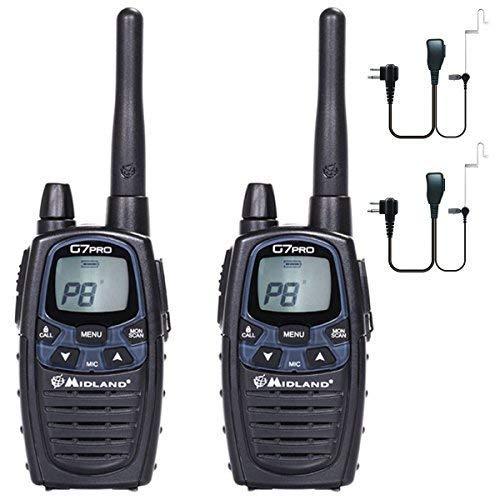 Comtechlogic 12Km Midland G7 PRO Dual Band LPD Lungo Raggio Doppio Pmr 446 Senza Licenza Radio - Twin Pack + 2 HEADSETS
