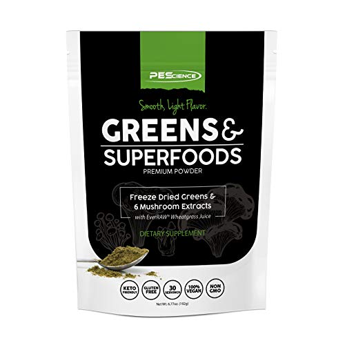 PEScience Greens & Superfoods Powder, 30 Servings, Wheat Grass with Reishi Mushroom & Fruit Extracts Antioxidant Blend