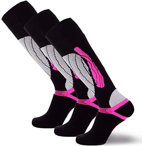 Elite Wool Race Ski Socks Warm Comfortable Snowboard Skiing Socks Black Neon Pink 3 Pack S M product image