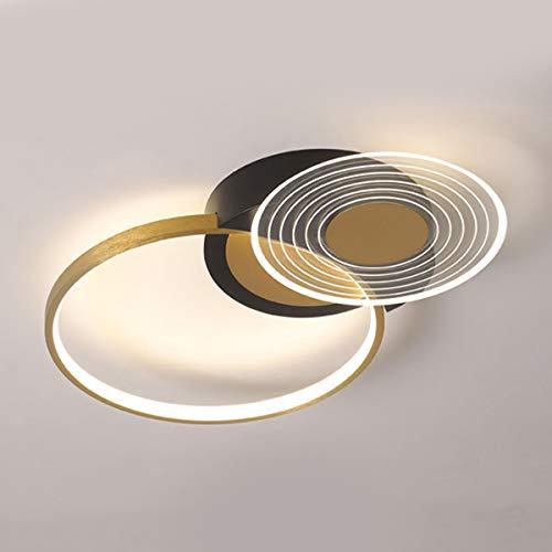 Plafón LED Regulable 31W Plafón Dormitorio 2 Redondo Anillo Diseño Metal Lámpara de techo Pantalla Acrílica Ultrafina, con Mando a Distancia Negro/Dorado Luz de la habitación para Salón Estudio Ø52cm