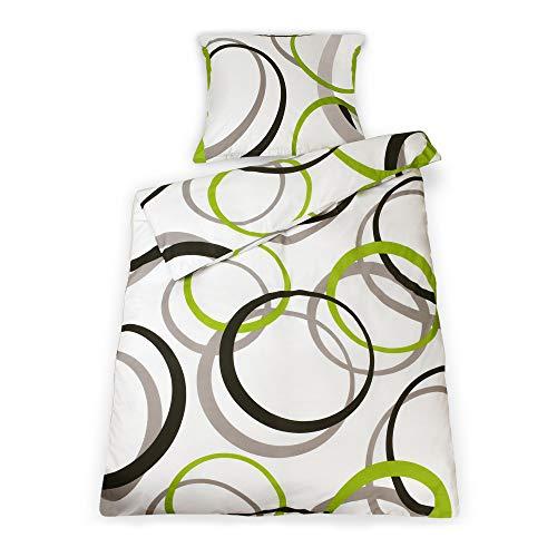 Beautissu Renforcé Bettwäsche 155x220 cm Bezug Set Nina Bettdecken Bezug & Kissenbezug 80x80 cm - Bettbezug mit Reißverschluss und 100% Baumwolle