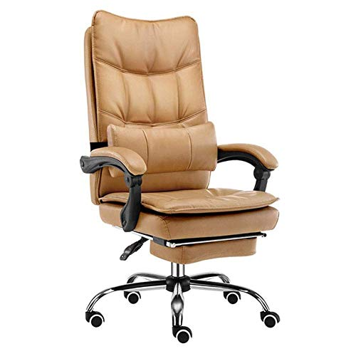 Gaming Chair echt leer huishouden leder Art bureaustoel zitting rugleuning comfortabele lounge stoel dubbele dikte 155 ° Reclining 66-74 cm bruin