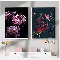 """北欧スタイルの牡丹の花のキャンバス印刷壁アートポスターとプリント暗いポスター花壁の写真15.7""""x 23.6""""(40x60cm)x2フレームレス"""