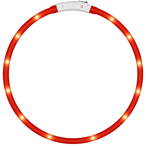 KEKU LED Collar de Perro de Mascota, llevó USB Recargable Collar de Seguridad para Mascotas Impermeable hasta la Longitud de 50 cm (19.5in) Collar de Destello Ajustable (Rojo)